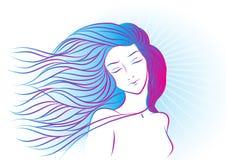 Handdrawing一个女孩的颜色画象有头发的 库存照片