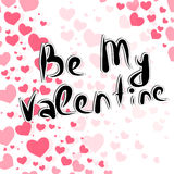 Handdrawing lettering Be My Valentine Royalty Free Stock Photos