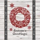Handdrawing säsongs krans för jul för hälsningar Royaltyfria Bilder