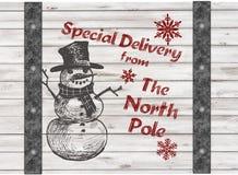 Handdrawing snögubbes gåva för jul för speciala leverans Royaltyfri Foto