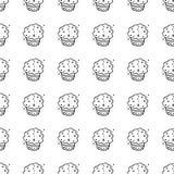 Handdrawn безшовный значок торта doodle картины Эскиз нарисованный рукой черный символ знака Элемент украшения Белая предпосылка  иллюстрация вектора