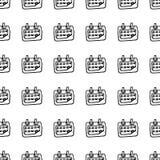 Handdrawn безшовный значок doodle календаря картины Эскиз нарисованный рукой черный символ знака Элемент украшения Белая предпосы иллюстрация штока
