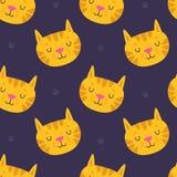 Handdrawn ślicznego kota bezszwowy wzór na ciemnym tle ilustracji