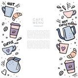 Handdrawn έμβλημα καφέ με το διάστημα για το κείμενό σας Handdrawn διανυσματικό illustation με τα φλυτζάνια καφέ και τα δοχεία κα διανυσματική απεικόνιση