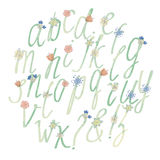 Handdrawn αλφάβητο watercolor με τα λουλούδια Στοκ φωτογραφία με δικαίωμα ελεύθερης χρήσης
