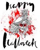 Handdrawn εγγραφή στο υπόβαθρο πτώσεων αίματος watercolor Διανυσματικό κορίτσι κρανίων με τα ραμμένα χείλια ημέρα νεκρή Ευτυχής Στοκ Εικόνα
