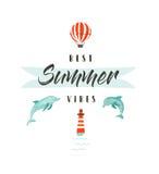 Handdrawn διανυσματική αφηρημένη απεικόνιση διασκέδασης θερινού χρόνου logotype ή σημάδι με τα δελφίνια, μπαλόνι ζεστού αέρα, φάρ Στοκ εικόνες με δικαίωμα ελεύθερης χρήσης