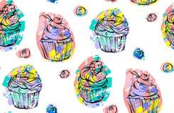 Handdrawn διανυσματικό αφηρημένο άνευ ραφής καλλιτεχνικό αφηρημένο δημιουργικό ζωηρόχρωμο σχέδιο cupcakes και μούρων που απομονών Στοκ Φωτογραφίες