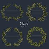 Handdrawn венки wedding флористические венки конструируют поздравительные открытки приглашений Иллюстрация вектора