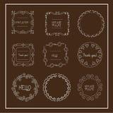 Handdrawn венки wedding флористические венки конструируют поздравительные открытки приглашений Стоковые Фотографии RF