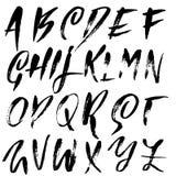 Handdrawn высушите шрифт щетки Современная литерность щетки Алфавит стиля Grunge также вектор иллюстрации притяжки corel Стоковые Изображения