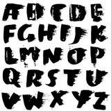 Handdrawn высушите шрифт щетки Современная литерность щетки Алфавит стиля Grunge также вектор иллюстрации притяжки corel Стоковое Изображение