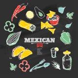 Handdrawn еда мексиканца значков Стоковое Изображение
