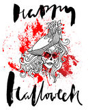 Handdrawn литерность на крови акварели падает предпосылка Девушка черепа вектора с зашитыми губами день мертвый Счастливый Стоковое Изображение