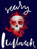 Handdrawn литерность на крови акварели падает предпосылка Череп вектора день мертвый halloween счастливый EPS10 Стоковые Изображения