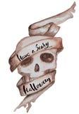 Handdrawn литерность на предпосылке акварели, черепе вектора день мертвый Фон трассировки Стоковые Изображения RF