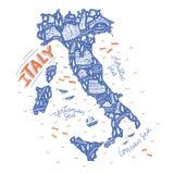 Handdrawn карта Италии Стоковые Изображения RF