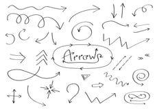 Handdrawn комплект значка стрелок doodle Нарисованный рукой черный эскиз стрелки Собрание символа знака Элемент украшения Белая п Стоковая Фотография