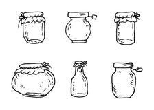 Handdrawn консервируя значок doodle банка установленный Эскиз нарисованный рукой черный иллюстрация штока