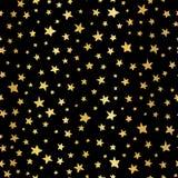 Handdrawn предпосылка вектора сусального золота звезд Безшовная картина для рождества и торжеств Звезды руки вычерченные золотые  бесплатная иллюстрация