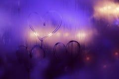 Handdrawn сердца на расплывчатом окне Стоковое Изображение RF