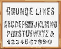 Handdrawn шрифт Алфавит и номера с линиями и ходами Grunge вектор Стоковые Фотографии RF