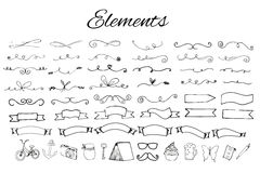 Handdrawn элементы логотипа иллюстрация штока