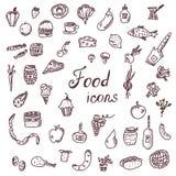 Handdrawn εικονίδια τροφίμων, αστείο σύνολο ύφους Στοκ Εικόνες