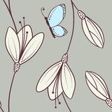 Handdrawn abstract floral seamless pattern with butterfly. In vector royalty free illustration