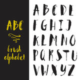 Handdrawn Alphabet. Hand drawn digital isolated alphabet for DIY projects and design. Brush script. Ink alphabet royalty free illustration