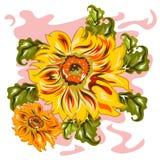 Handdrawn Art-Sonnenblume Stockfotografie