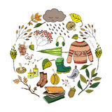 Handdrawn autumn design. Vector handdrawn autumn elements made in circle isolated on white background. Vector illustration Stock Images