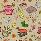 Handdrawn autumn design. Vector handdrawn autumn seamless pattern. Autumn elements on background. Vector illustration Royalty Free Illustration