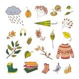 Handdrawn autumn elements. Vector handdrawn autumn elements on white background. Vector illustration Royalty Free Illustration