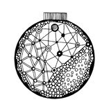 Handdrawn ball with geometric pattern Royalty Free Stock Image