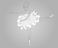Handdrawn ballerina's wearing white dress - paths Royalty Free Stock Image