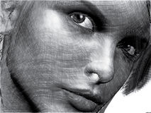Handdrawn beauty female closeup. Attractive female closeup with an intensive look is thinking what you think about Stock Photos