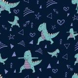 Handdrawn bezszwowy wzór z dinosaurem w joga asana ilustracji