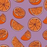 Handdrawn bezszwowy wzór z pomarańczowym plasterkiem royalty ilustracja