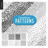 Hand drawn black and white 8 patterns set. Handdrawn black and white 8 patterns set. Fur or leaves seamless black and white patterns Royalty Free Stock Photos