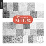 Hand drawn black and white 30 patterns set. Handdrawn black and white 30 patterns set. Fur or leaves seamless black and white patterns Royalty Free Stock Photography