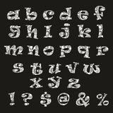 Handdrawn black-and-white vector alphabet Royalty Free Stock Photo