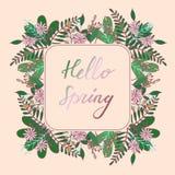 Handdrawn Bloemenkader met de Lente van groethello stock illustratie