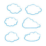 Handdrawn Blue Clouds Set Stock Photos