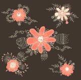 Handdrawn Blumen der Weinlese Stockfotografie