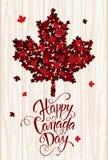 Handdrawn bokstäver för lycklig Kanada dag Lönnlövtextur Arkivbilder