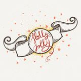 Handdrawn bokstäveremblem med Holly Jolly text Göra perfekt designen för affischer, kort, reklamblad och baner stock illustrationer