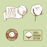Handdrawn bomullsetikett för torkduk royaltyfri illustrationer