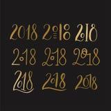 Handdrawn borstebokstäveruppsättning med nummer 2018 royaltyfri illustrationer