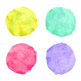 Handdrawn bright watercolor circles Royalty Free Stock Photos